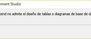 Solución: Esta versión de backend no admite el diseño de tablas o diagramas de base de datos.